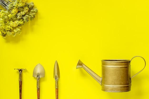 黄色の背景に花の世話をするツールのセット。フラワーズ。平干し。