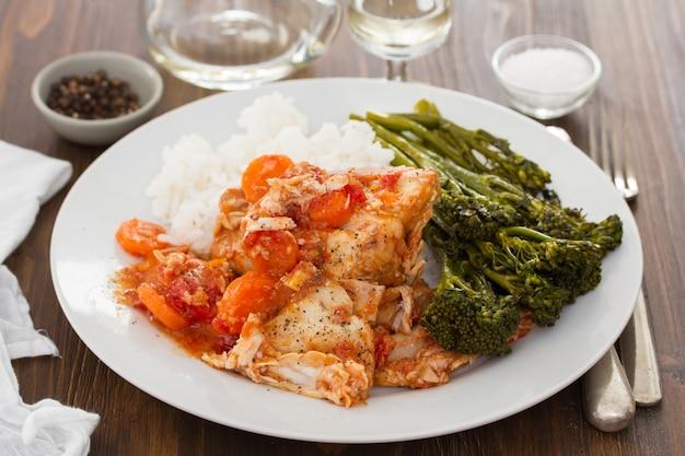 Кролик с морковью, рисом и зеленью на белой тарелке