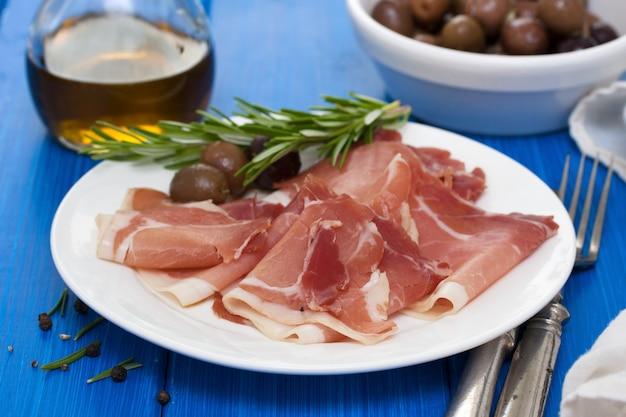 Хамон с оливками на белой тарелке
