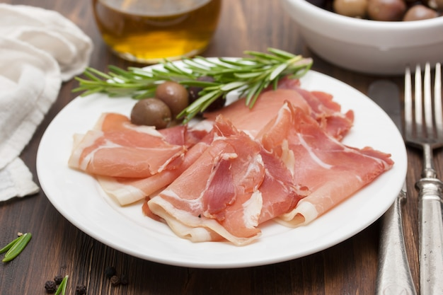 Копченое мясо с оливками на белой тарелке