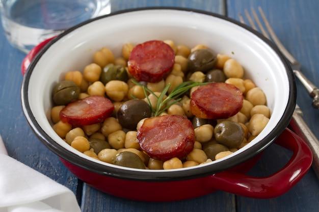 皿にスモークソーセージとひよこ豆