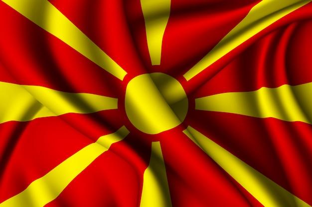 マケドニアの旗を振っています。