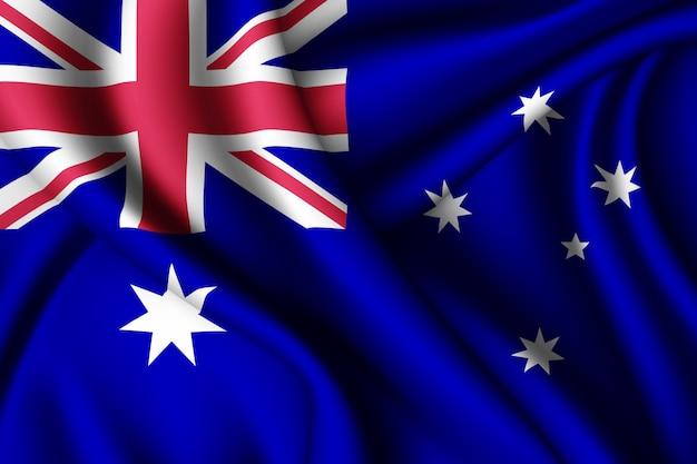 オーストラリアのシルク旗を振る