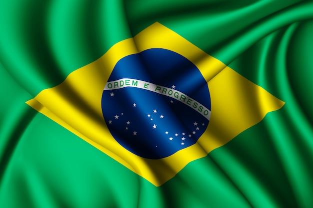 Развевающийся шелковый флаг бразилии