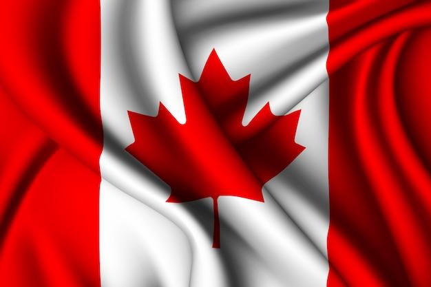 Развевающийся шелковый флаг канады