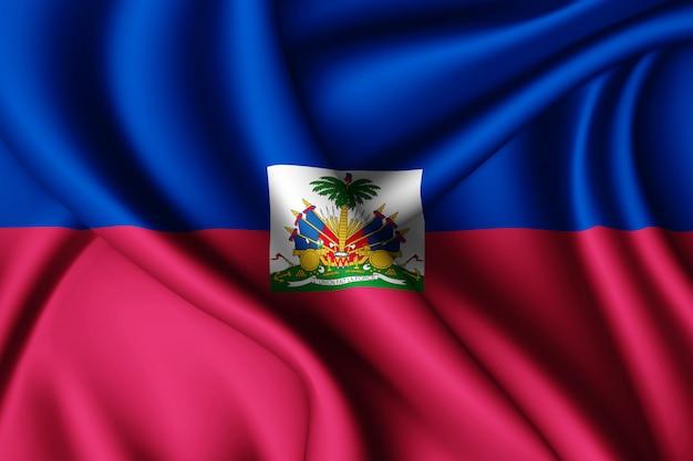 ハイチの旗を振る