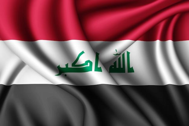 Развевающийся шелковый флаг ирака