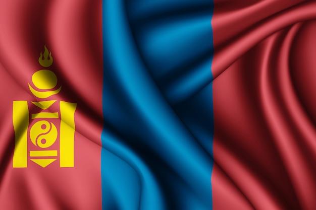 モンゴルのシルク旗を振る