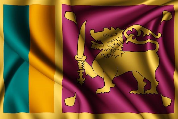 Развевающийся шелковый флаг шри-ланки