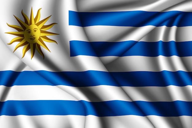Развевающийся шелковый флаг уругвая
