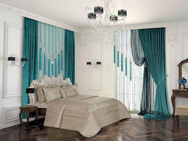 装飾付きのベッドルーム