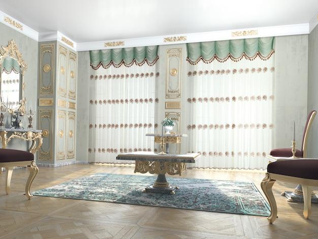 装飾付きのリビングルームのインテリア
