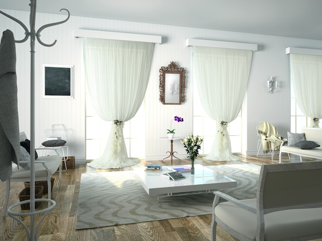 Интерьер гостиной с отделкой