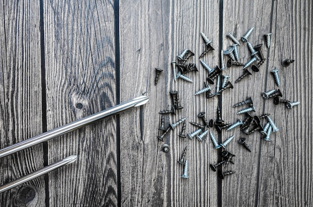 木製の背景上のツールのセット