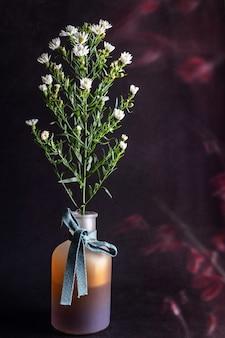 Маленькие цветы ромашки в вазе на темном