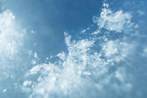 雪がクローズアップ。マクロ写真。