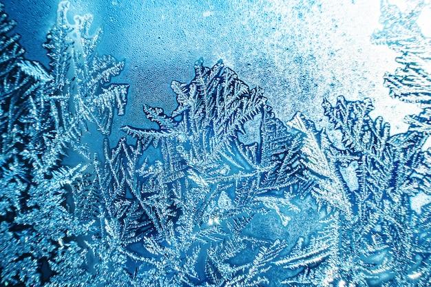 Красивое замерзшее стекло, макро фото фон