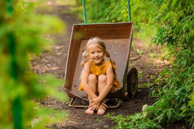 庭の手押し車に座って笑顔の国で幸せな小さなブロンドの女の子