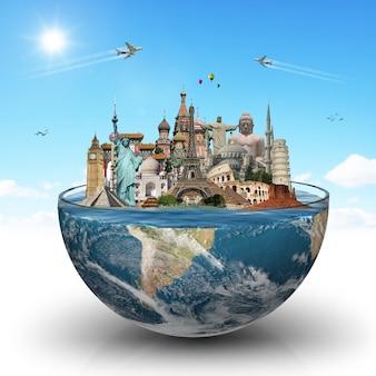Путешествие по миру, концепция памятников