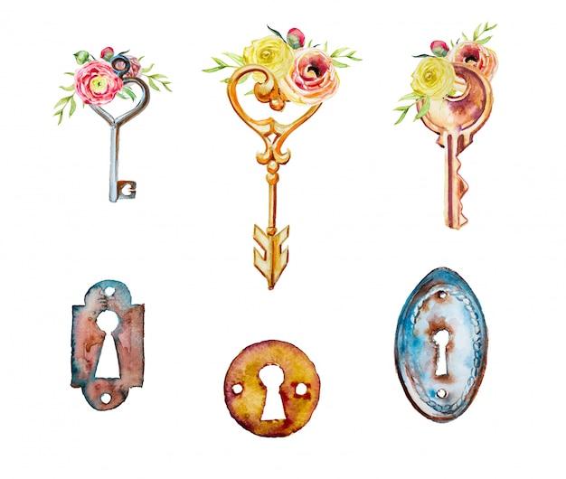 水彩の手描きのキーとロッククリップアートセット分離。ビンテージキーデザイン要素。