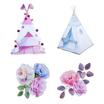 水彩の手描きのティーピーと花の花束。子供部屋の装飾。ハンは子供用テントとフラワーアレンジメントを描きました。