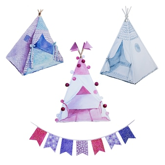 Акварельные раскрашенные вручную вигвамы и цветочные букеты. детская комната украшения. хан нарисовал детские палатки и цветочную композицию.