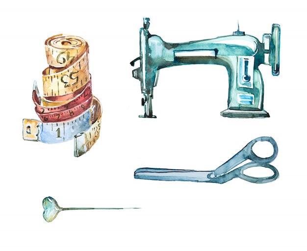 水彩の手描きのビンテージ縫製クリップアートセット。レトロなはさみ、針、ミシンのイラスト。デザインを調整します。