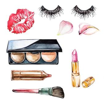 Акварель ручной росписью макияж клипарт набор. салон красоты. косметологическая иллюстрация.