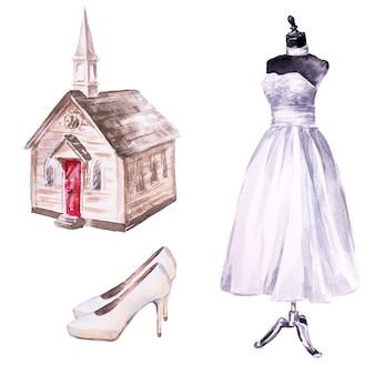 水彩の手描きの教会、結婚式の花嫁のドレス、靴。結婚式のクリップアートセット。