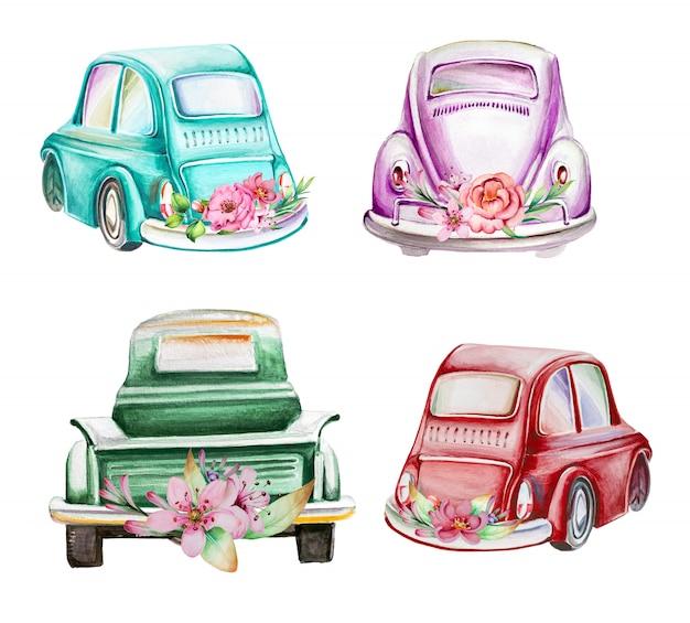 水彩の手描きの花イラストとレトロな車。