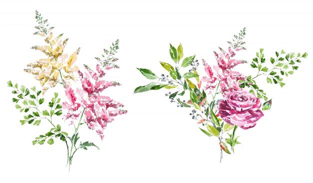 水彩の手描きの春の花の花束クリップアートセット。