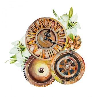 水彩の手描きの花と時計のメカニズム