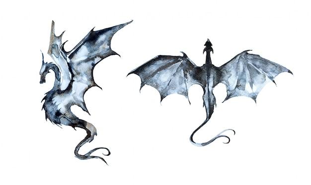 手描きの水彩ドラゴンイラスト