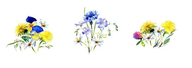 白い壁に分離された水彩の手書きの野の花の花束。素朴なフラワーアレンジメントのデザイン。