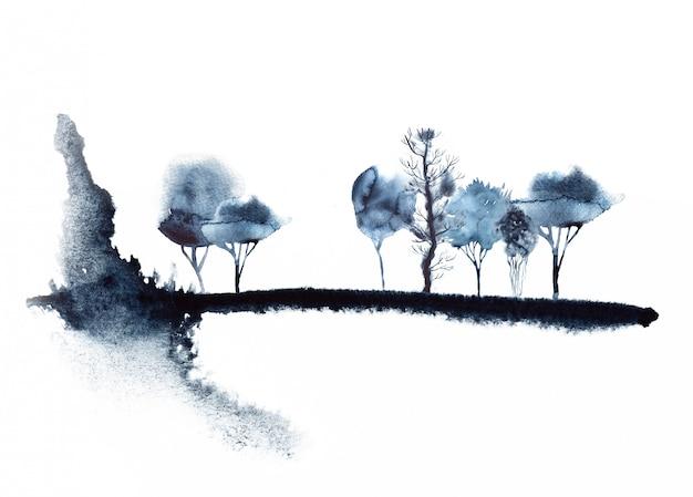 水彩の抽象的な森イラスト