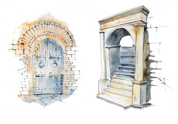 中世の水彩の手描きのドアとアーチ。