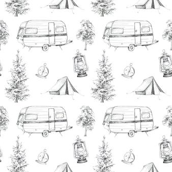 グラフィックキャンプテーマのシームレスパターン。キャンプテント、ビンテージコンパス、バンのイラスト。旅行コンセプトデザインセット。