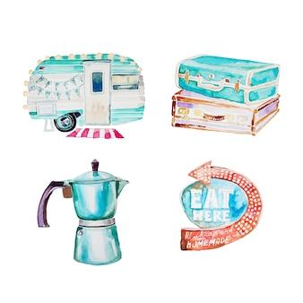 水彩の手描きのレトロなクリップアートセット。キャンプバン、ビンテージスーツケース、レトロなため息、レトロなコーヒーマシンのイラストが分離されました。