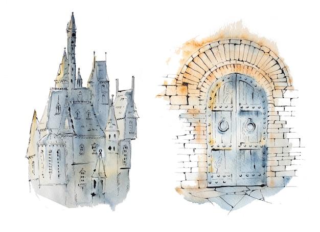Иллюстрация акварель замок