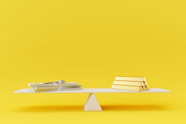 黄色の背景に白いシーソーバランスに金のお金。ビジネスファイナンスの概念。