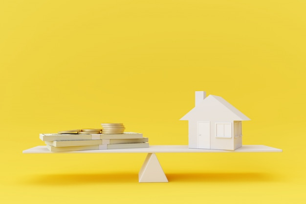 黄色の背景に白いシーソーバランスの家モデルとお金。ビジネスファイナンスの概念。