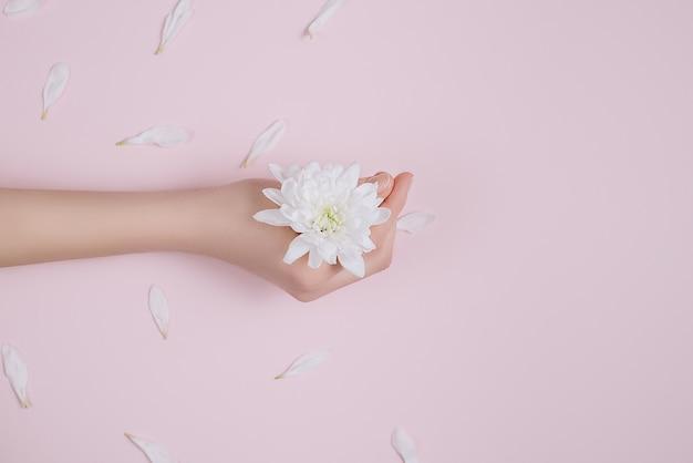 女性の手に手と白い花の創造的でファッション芸術のスキンケア。
