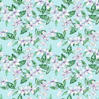 ホワイトコーヒーの花と緑の葉の水彩画のシームレスパターン。