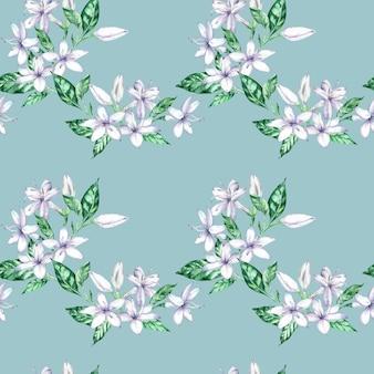 白いコーヒーの花と緑の葉の水彩画のシームレスなパターン。