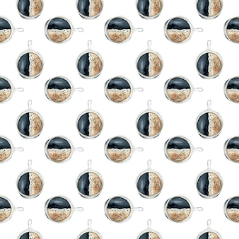 手描き水彩のコーヒーカップのシームレスな背景。