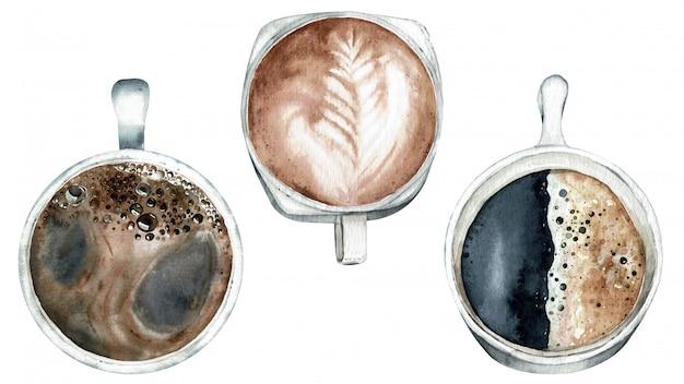 コーヒータイム、コーヒーのトップビュー。水彩イラスト。