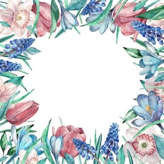 イースターと母の日花のフレーム。手描きの水彩画。