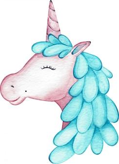 白い背景に分離された水彩ピンクの女の子ユニコーンヘッド