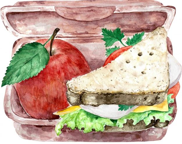 全粒粉パンと赤いリンゴを白で隔離される健康的な緑の学校のランチボックス。水彩イラスト。