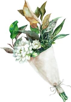紙のラッピングで緑と黄色の葉と白い花の水彩の花束。手描きイラスト。